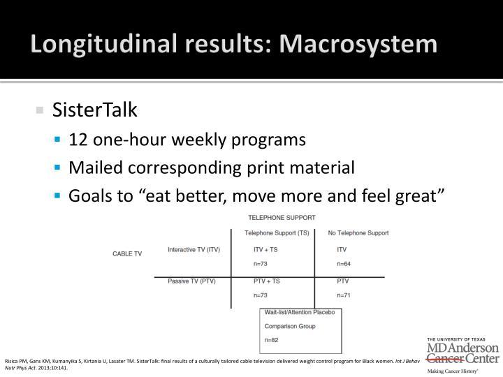 Longitudinal results: