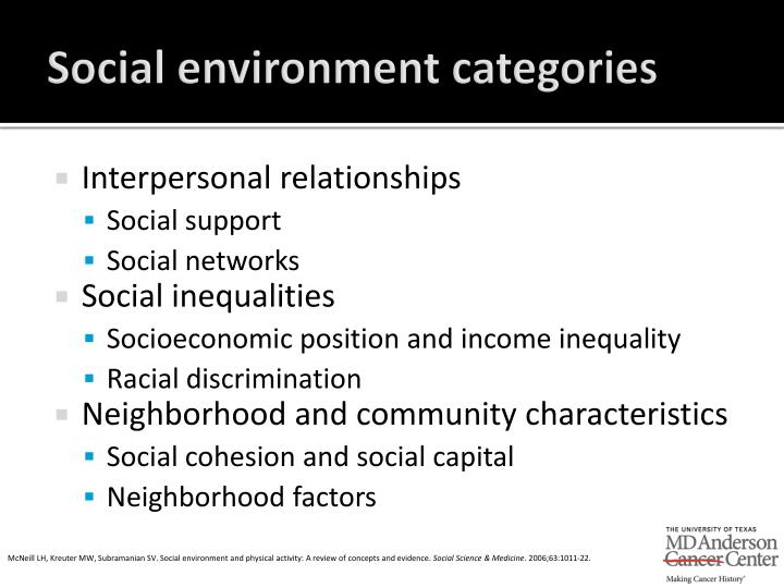 Social environment categories