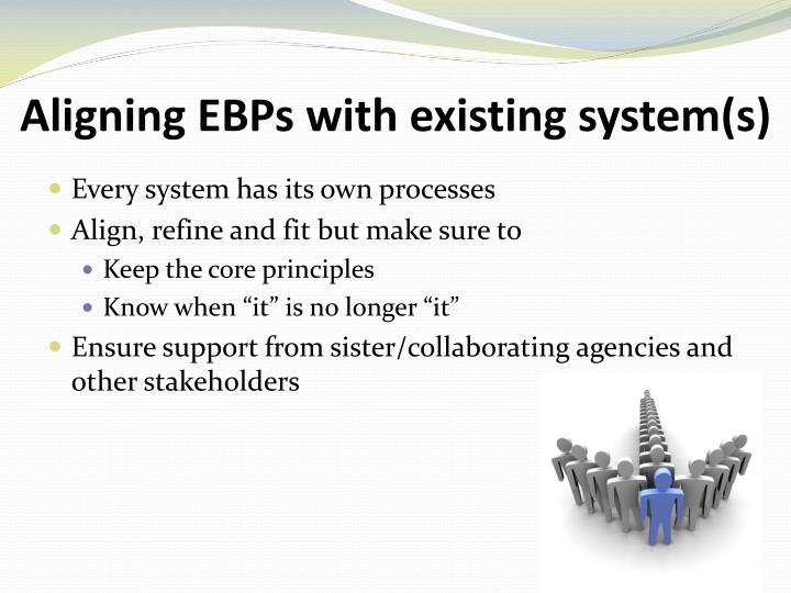 Aligning EBPs with existing system(s)