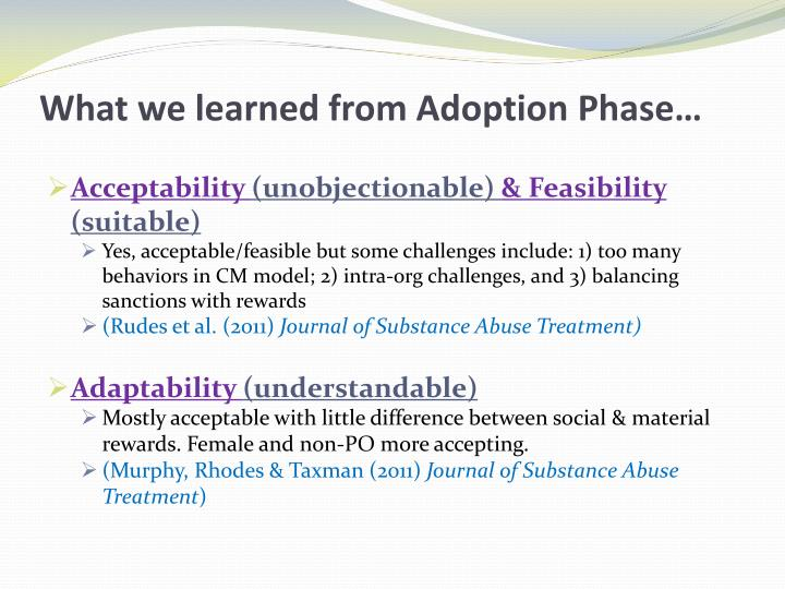What we learned from Adoption Phase…