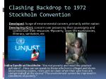 clashing backdrop to 1972 stockholm convention