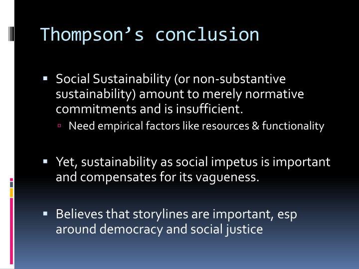 Thompson's conclusion