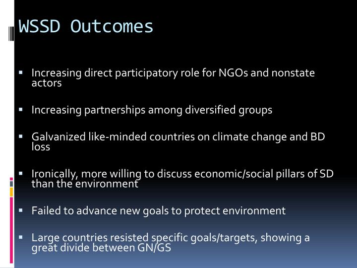WSSD Outcomes