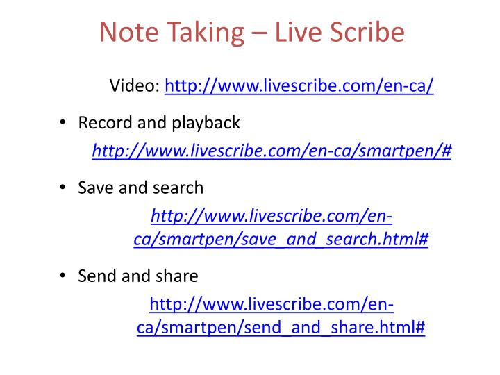 Note Taking – Live Scribe