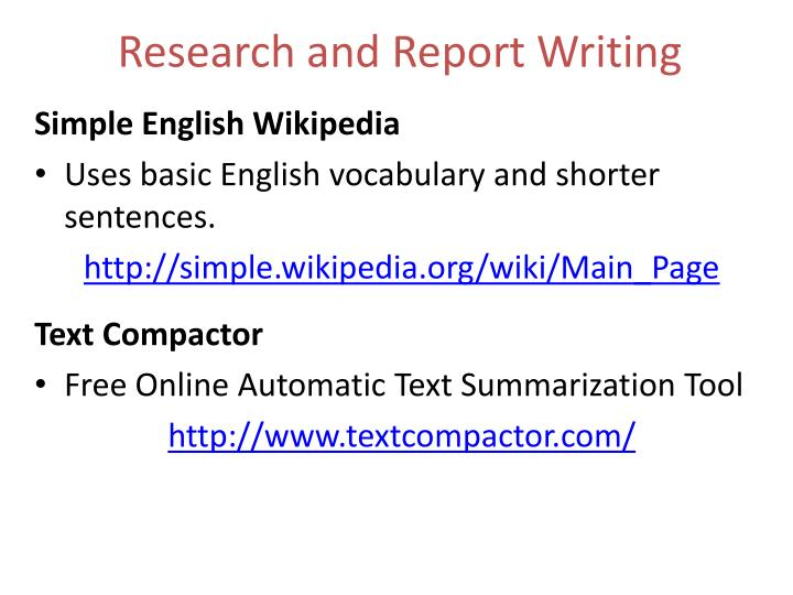 Research and Report Writing