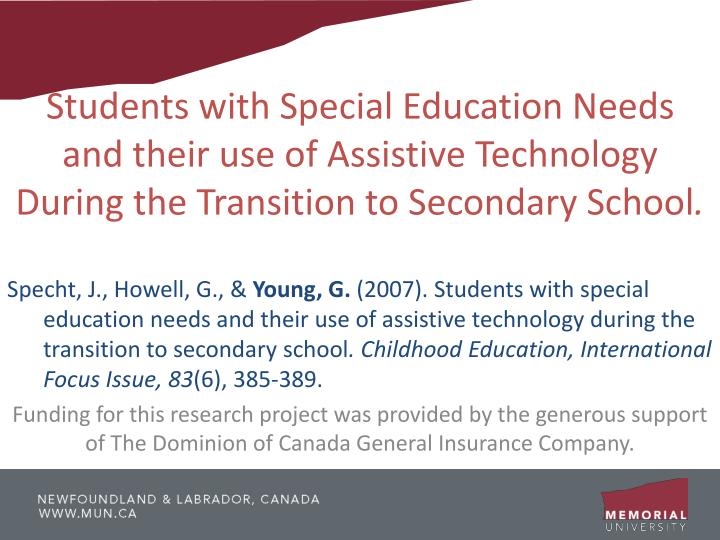 Students with Special Education Needs