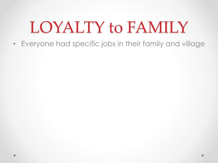 LOYALTY to FAMILY