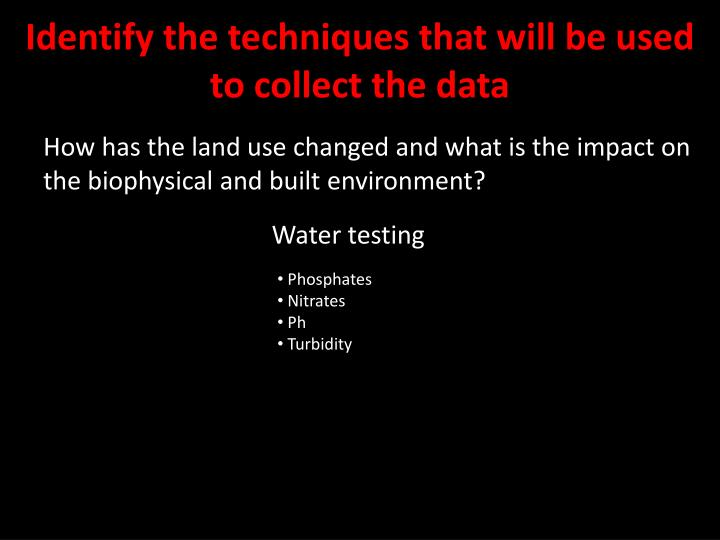Identify the techniques that will be used to collect the data