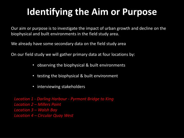 Identifying the Aim or Purpose