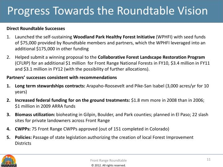 Progress Towards the Roundtable Vision
