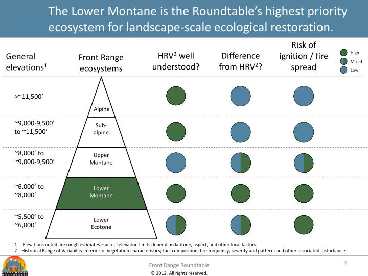 The Lower Montane is the Roundtable's highest priority ecosystem for landscape-scale ecological restoration.