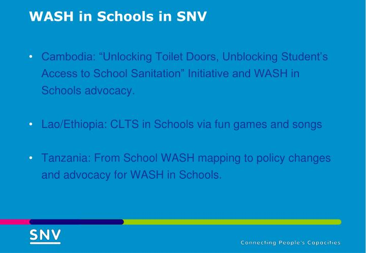WASH in Schools in SNV