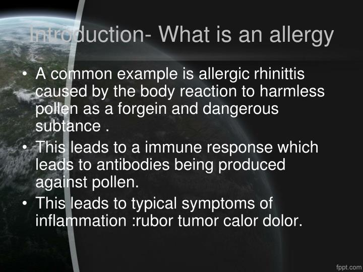 Introduction what is an allergy