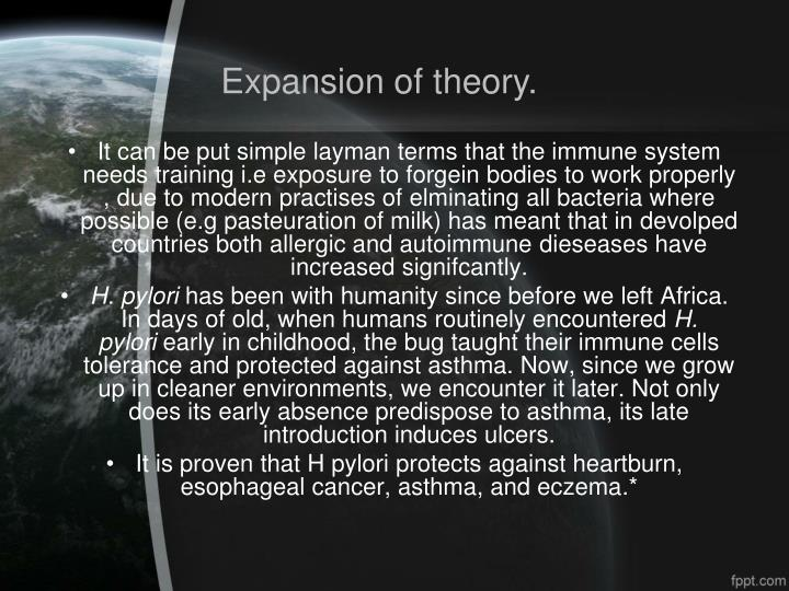 Expansion of theory.