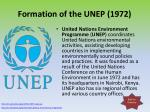 formation of the unep 1972