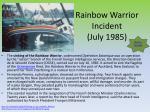 rainbow warrior incident july 1985