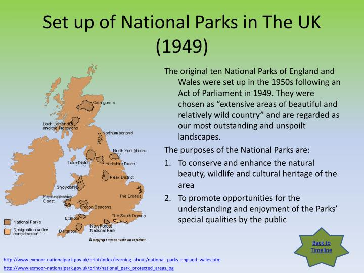 Set up of National Parks in The UK (1949)
