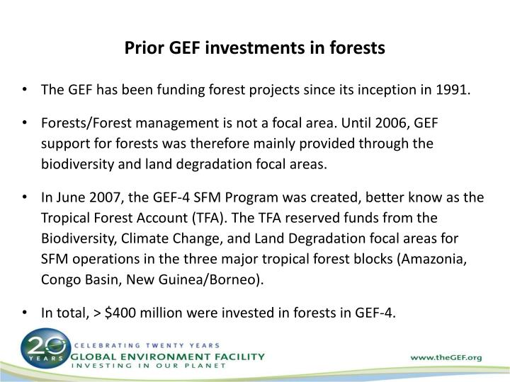Prior GEF investments in forests