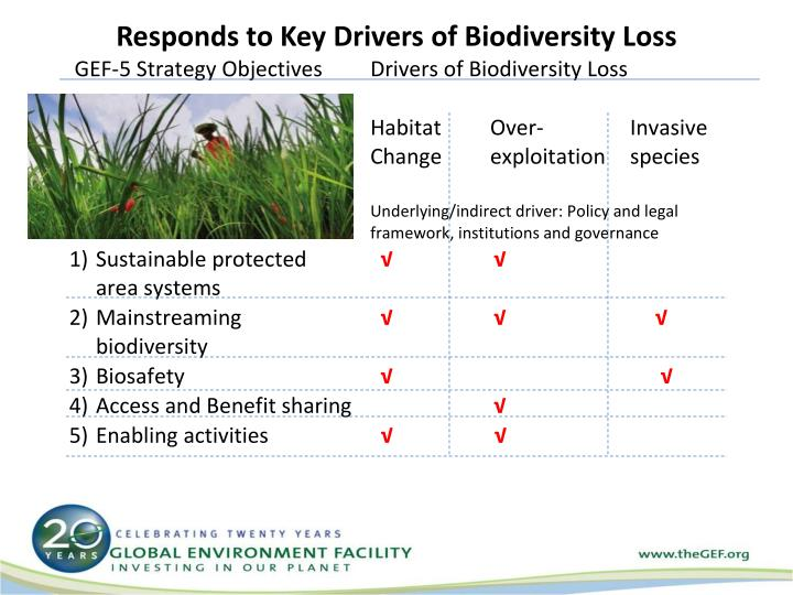 Responds to Key Drivers of Biodiversity Loss