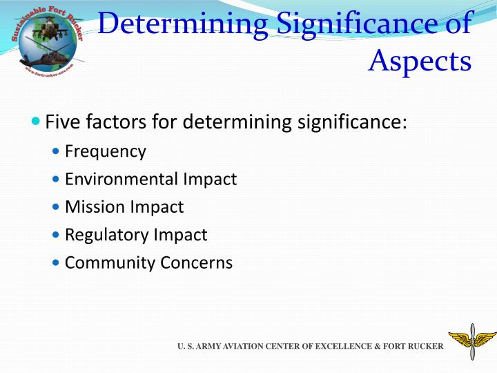 Determining Significance of Aspects