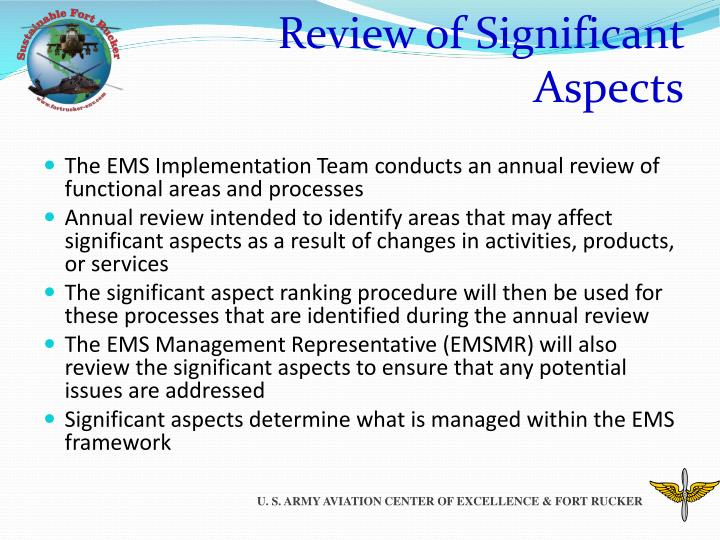 Review of Significant Aspects
