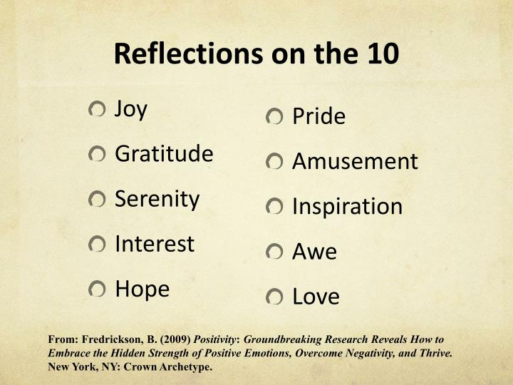 Reflections on the 10