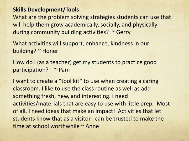 Skills Development/Tools