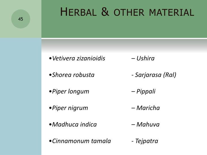 Herbal & other material