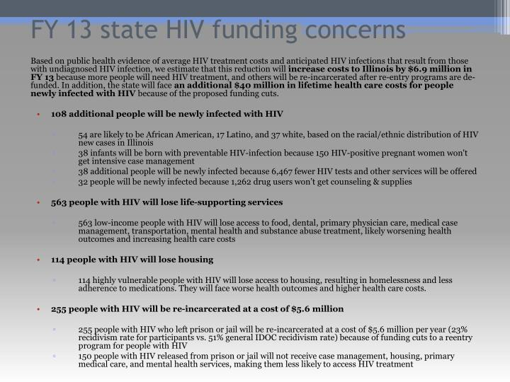 FY 13 state HIV funding concerns