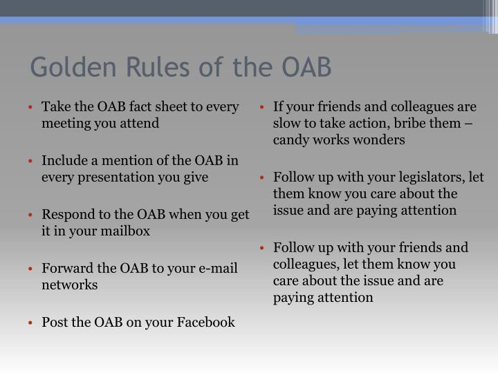 Golden Rules of the OAB