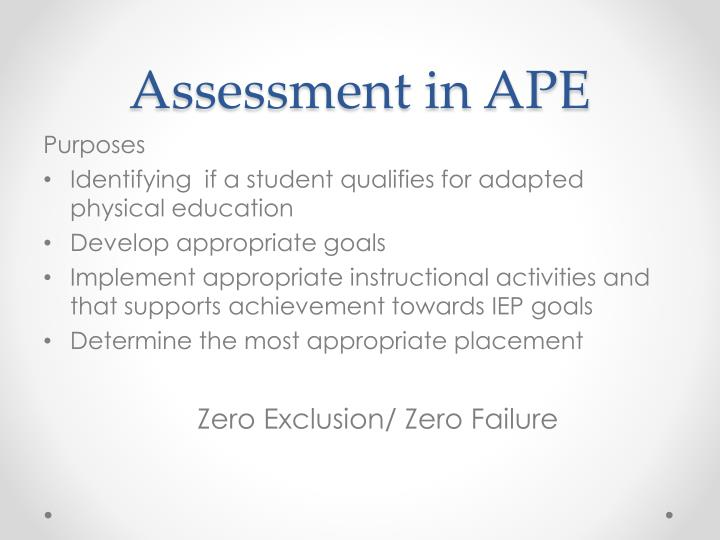 Assessment in APE