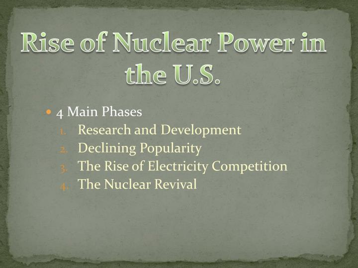 Rise of Nuclear Power in the U.S.