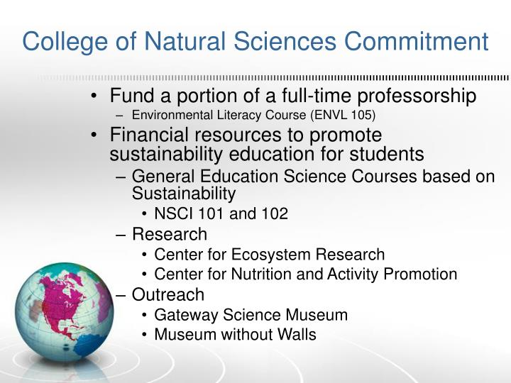 College of Natural Sciences Commitment