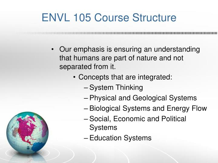ENVL 105 Course Structure