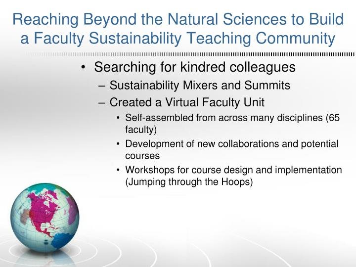 Reaching Beyond the Natural Sciences to Build a Faculty Sustainability Teaching Community