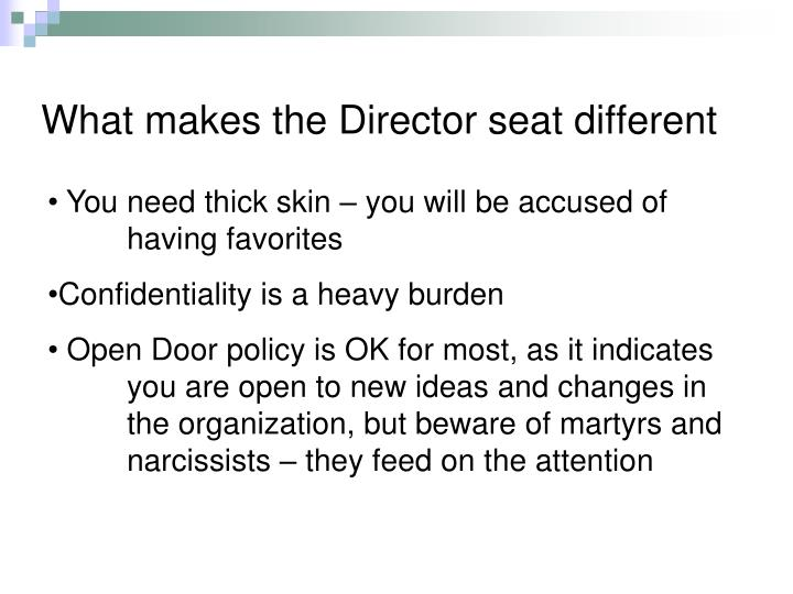 What makes the Director seat different