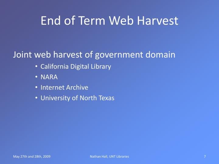 End of Term Web Harvest