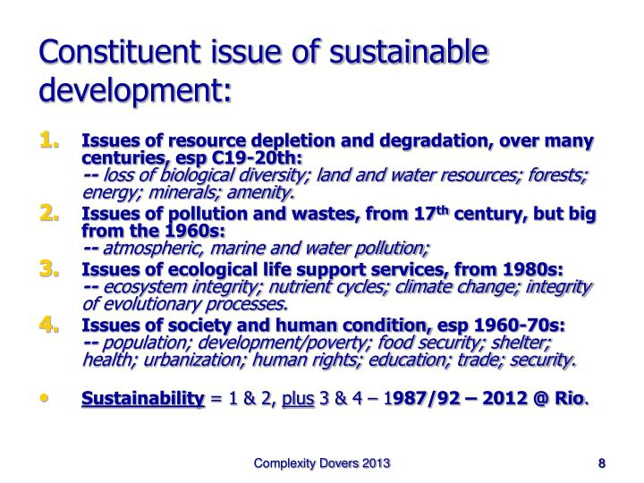 Constituent issue of sustainable development: