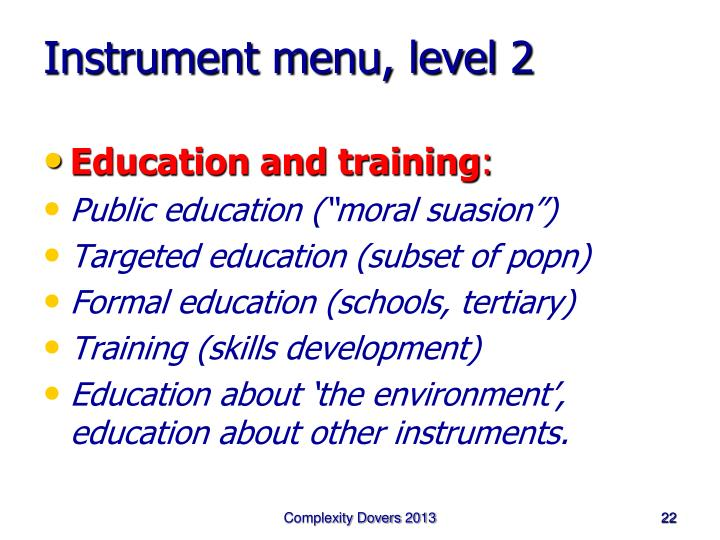 Instrument menu, level 2