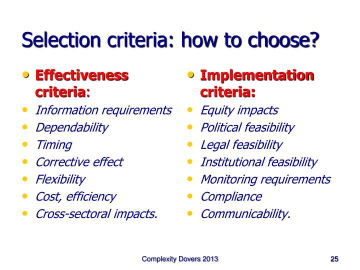 Effectiveness criteria