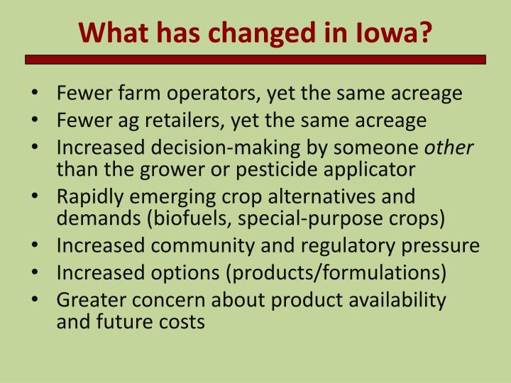 What has changed in Iowa?