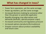 what has changed in iowa
