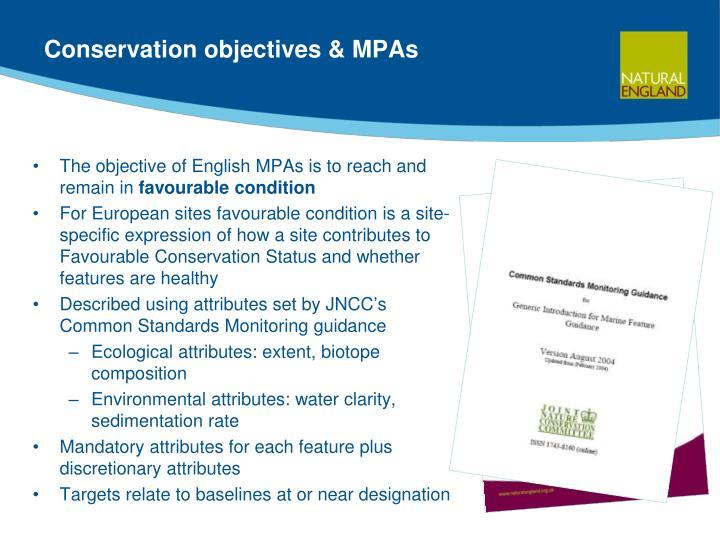 Conservation objectives & MPAs