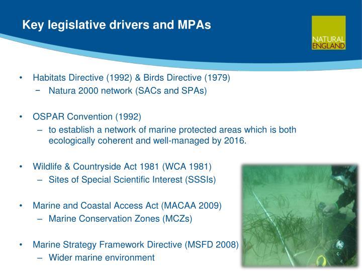 Key legislative drivers and MPAs