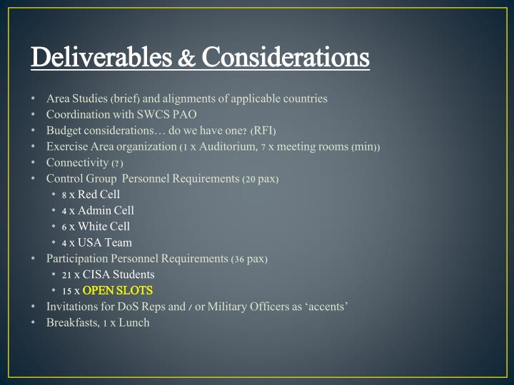 Deliverables & Considerations