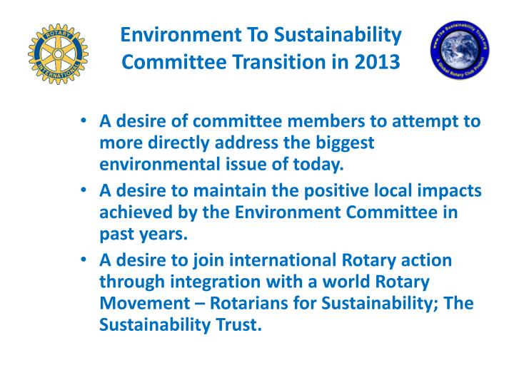 Environment To Sustainability Committee Transition in 2013