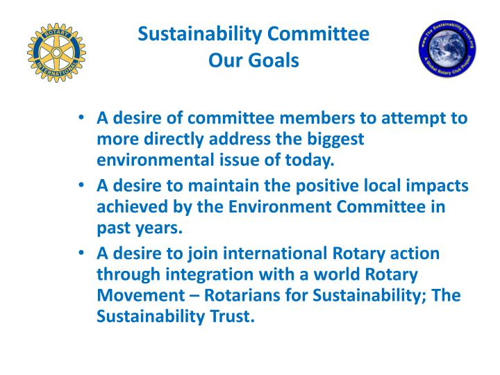 Sustainability committee our goals