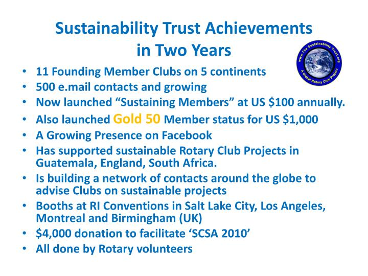 Sustainability Trust Achievements