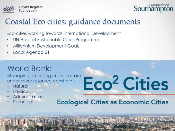 Coastal Eco cities: guidance documents