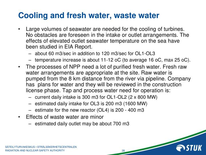 Cooling and fresh water, waste water